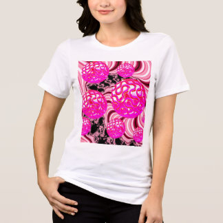 Cotton Candy, Abstract Fractal Pink Rose White T-Shirt