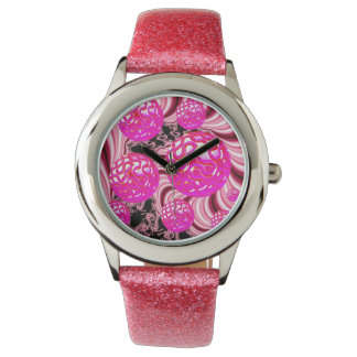 Cotton Candy, Abstract Fractal Pink Rose White Watch