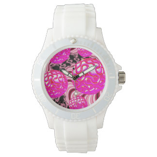Cotton Candy, Abstract Fractal Pink Rose White Watches