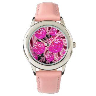Cotton Candy, Abstract Fractal Pink Rose White Wrist Watch