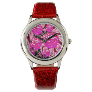 Cotton Candy, Abstract Fractal Pink Rose White Wrist Watches
