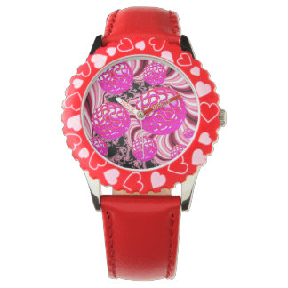 Cotton Candy, Abstract Fractal Pink Rose White Wristwatch