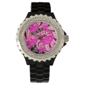 Cotton Candy, Abstract Fractal Pink Rose White Wristwatches