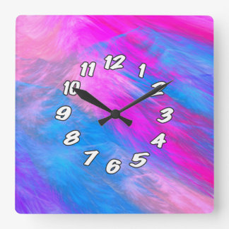 Cotton Candy Abstract Square Wall Clock