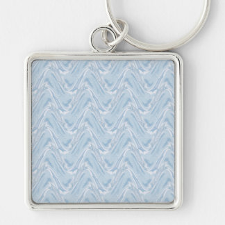 Cotton Candy Blue Abstract Silver-Colored Square Keychain