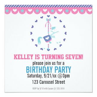 Cotton Candy Carousel Birthday Party Invitation