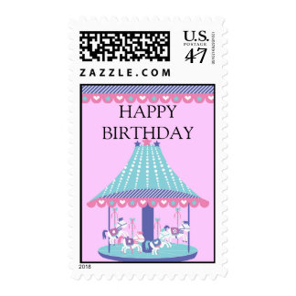 Cotton-candy Carousel Happy Birthday in Pink Postage