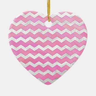 Cotton Candy Chevon Pattern Ceramic Ornament