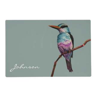 Cotton Candy Color Bird Painting with Family Name Placemat