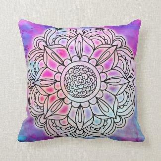 Cotton Candy Glow Mandala Throw pillow