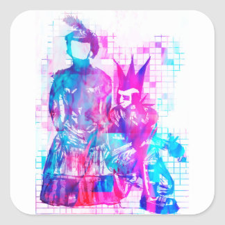 Cotton Candy Goth Girl and Punk Dude Square Sticker