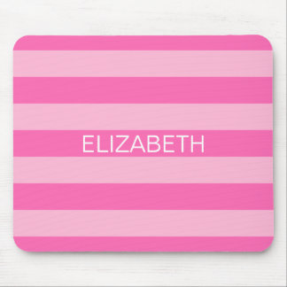Cotton Candy Hot Pink Preppy Stripe Name Monogram Mouse Pad