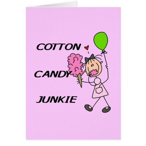 Cotton Candy Junkie Tshirts and Gifts Greeting Card