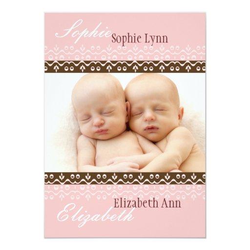 Cotton Candy Photo Birth Announcement