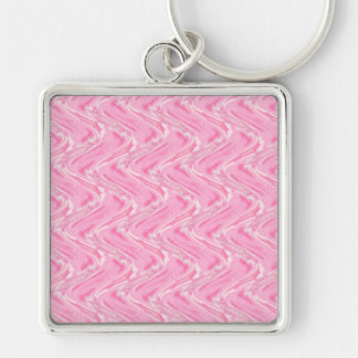 Cotton Candy Pink Abstract Silver-Colored Square Keychain