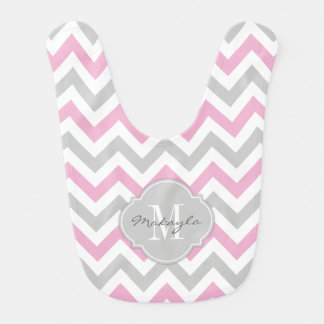 Cotton Candy Pink and Gray Baby Baby Bib