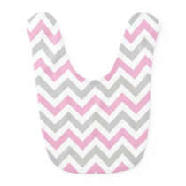 Cotton Candy Pink and Gray Baby Bib