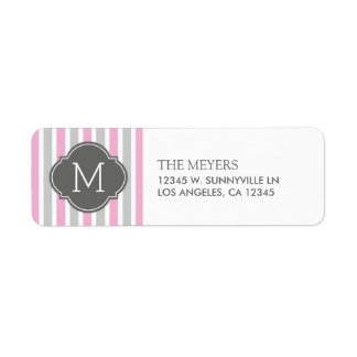 Cotton Candy Pink and Gray Stripes with Monogram Return Address Labels