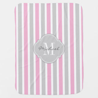 Cotton Candy Pink and Gray Stripes with Monogram Stroller Blanket