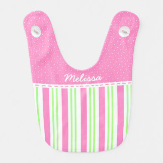 Cotton Candy Pink and Peppermint Stripe Baby Bibs