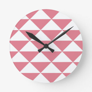 Cotton Candy Pink and White Triangles Round Clock