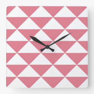 Cotton Candy Pink and White Triangles Square Wall Clock