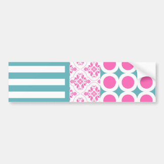 Cotton Candy Pink Blue Circles Stripes Damask Coll Bumper Sticker