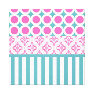 Cotton Candy Pink Blue Circles Stripes Damask Coll Gallery Wrap Canvas