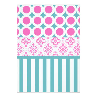 Cotton Candy Pink Blue Circles Stripes Damask Coll Card