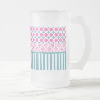 Cotton Candy Pink Blue Circles Stripes Damask Coll Frosted Glass Beer Mug