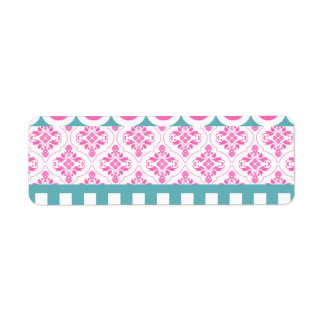Cotton Candy Pink Blue Circles Stripes Damask Coll Label