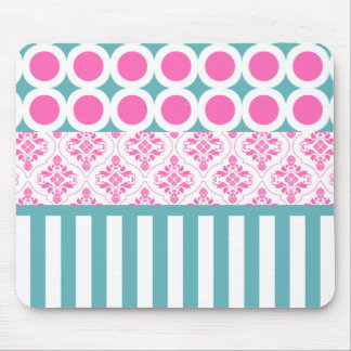 Cotton Candy Pink Blue Circles Stripes Damask Coll Mouse Pad