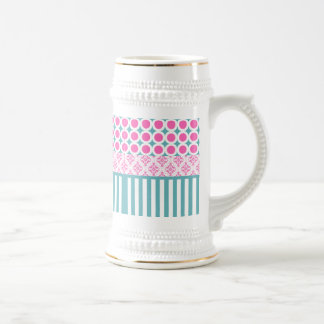 Cotton Candy Pink Blue Circles Stripes Damask Coll 18 Oz Beer Stein