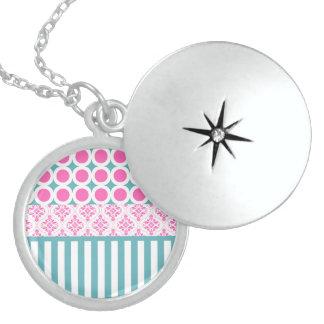 Cotton Candy Pink Blue Circles Stripes Damask Coll Pendants