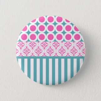 Cotton Candy Pink Blue Circles Stripes Damask Coll Pinback Button