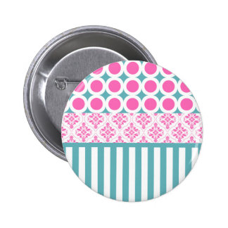 Cotton Candy Pink Blue Circles Stripes Damask Coll Pinback Button