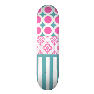 Cotton Candy Pink Blue Circles Stripes Damask Coll Skateboard Deck