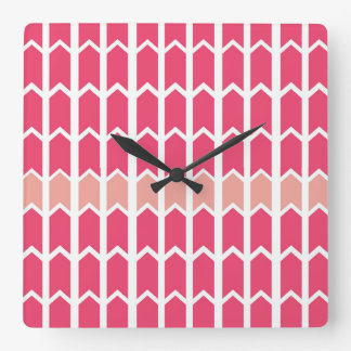 Cotton Candy Pink Bordered Fence Panel Square Wall Clock