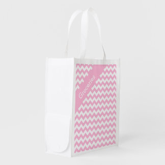 Cotton Candy Pink Chevron Grocery Bag