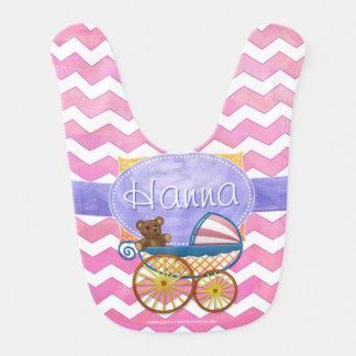 Cotton Candy Pink Chevron Pattern Baby Carriage Baby Bib