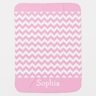Cotton Candy Pink Chevron Swaddle Blanket