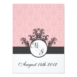 Cotton Candy Pink Damask Wedding Card