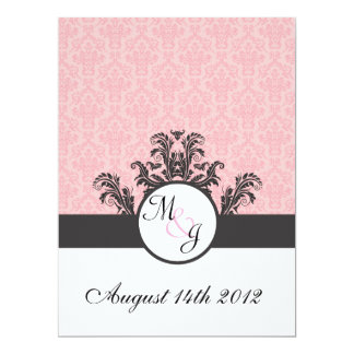 Cotton Candy Pink Damask Wedding Custom Invitation