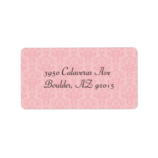 Cotton Candy Pink Damask Wedding Personalized Address Label