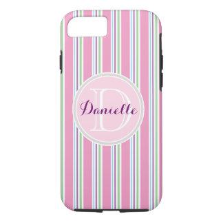 Cotton Candy Pink, Green, Aqua Purple Name Stripes iPhone 7 Case