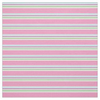 Cotton Candy Pink, Green, Aqua, Purple Stripes Fabric