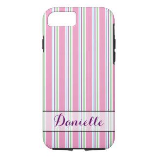 Cotton Candy Pink, Green, Aqua, Purple Stripes iPhone 7 Case