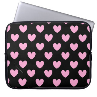 Cotton Candy Pink polka hearts on black Computer Sleeve