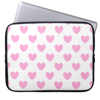 Cotton Candy Pink polka hearts on white Computer Sleeve