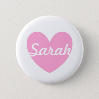 Cotton Candy Pink polka hearts on white Pinback Button